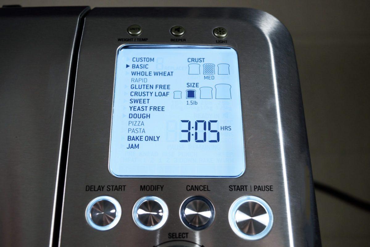 breville custom loaf control panel
