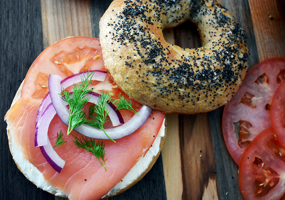 Wheat bagel topped with lox